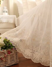Cotton Lace Gathered Bed Valance Skirt Queen White Romantic Shabby Chic Country