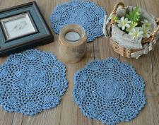"""Set of 3 Sky Blue Hand Crochet Doilies Coasters 8"""" round Applique"""