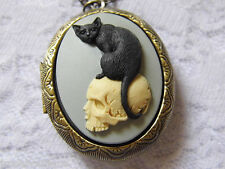 #JRK810 Antique Gold Morbid Cat on Skull Locket Necklace Memory Goth Steampunk