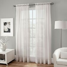 "NEW Crushed Voile Sheer 50"" x 54"" Rod Pocket Curtain Panel, White FREE SHIPPING"