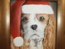 ADORABLE OIL ON CANVAS PORTRAIT OF A CAVALIER KING CHARLES SPANIEL PUPPY DOG