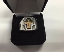 RETIRED James Avery 14k Gold and Sterling Silver Cross Ring sz 12.75