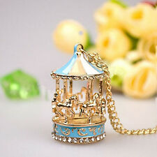 Cool Carousel Merry Go Round Horse Pendant Sweater Chain Necklace