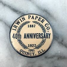 Vintage Irwin Paper Co Quincy IL Anniversary Celluloid Advertising Pocket Mirror