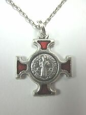 "St Benedict Cross w/ Red Enamel 1"" Pendant Necklace 20"" Chain"""