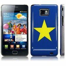 Samsung Galaxy S2 i9100 Quality Image Yellow Star Hard Back Case Cover  - Blue
