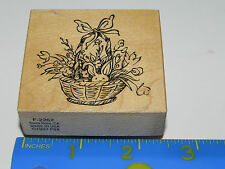 PSX Rubber Stamp F-2262 Easter Theme Basket with Flowers & Peeking Bunny Rabbit