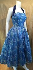 Vintage 50's WILL STEINMAN ORIGINAL Party Dress Blue Silk Floral