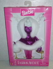 Mattel Barbie Doll FASHION AVENUE MAGENTA/PURPLE FUR TRIMMED DRESS *NRFB 1995