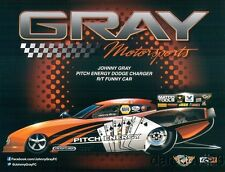 2013 Johnny Gray Pitch Energy Dodge Charger Funny Car NHRA postcard