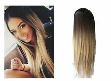 24 Inches Half Head Wig Long Curly Wavy OMBRE DIP DYE 3/4 Weave Brown Blonde  to