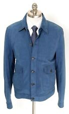 New BRIONI Ocean Blue Suede Leather 5Btn Cardigan Jacket Coat 50 M L NWT $5530!
