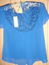 WAREHOUSE BNWT blue lace top size 12