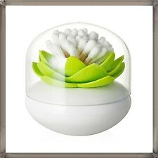 Green Lotus Flower Cotton Bud Cosmetic Brushes Cotton Ball Holder Container