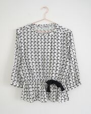 HOF115: & Other Stories Bluse volant kariert / Polka dot check blouse 36 UK 10