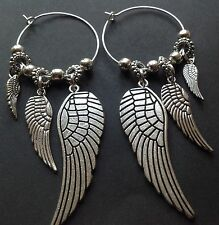 Bijoux interchangeable hoop earrings with tibetan silver wing charms boho