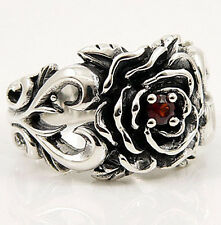 LOVE NATURAL RED GARNET ROSE 925 STERLING SILVER RING Sz 11 TATTOO NEW GOTHIC