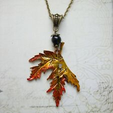 Autumn Leaf Necklace - Black Agate Gemstone Fairy Goth Hippie Boho Leaves Nature