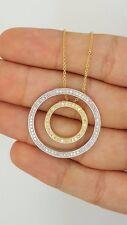 EFFY 14K YELLOW GOLD WHITE GOLD DIAMOND DOUBLE CIRCLE OF LIFE ROUND PENDANT BH