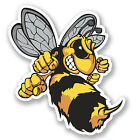2 x Wasp Bee Hornet Vinyl Sticker iPad Laptop Helmet Car Bike Yellow #4637/SV
