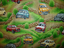 CLEARANCE    FQ MINI CARS VEHICLE TRAFFIC FABRIC KITSCH ROADS TRAVEL