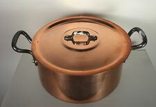 "BAUMALU COPPER 8"" CASSEROLE + LID STOCK POT WEIGHT 4lb 6oz MADE IN FRANCE"