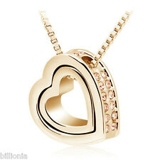18k Gold Plated Swarovski Elements Crystal Peach Double Heart Necklace Pendant