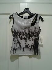 NWT Linda Segal Asymmetrical Key-Hole Knit Tank Top Black Pic Print Size M