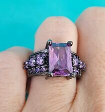 Princess Cut 10mm Amethyst color 10KT Black Gold Filled Women Wedding Ring Sz 7