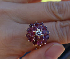 2.85ct Genuine ruby diamond cluster cocktail ring 14k YG