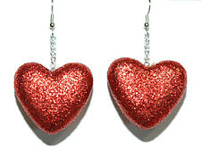 LARGE PUFFY RED GLITTER VALENTINE HEART DANGLE EARRINGS (H015)