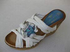 Eric Michael Womens Shoes NEW $120 Dune White Leather Jute Slide Wedge 39 8.5