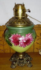 Antique Electrified GWTW Table Lamp Base - Green & Floral
