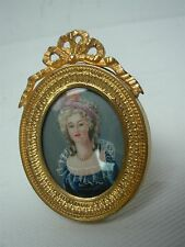 ANTIQUE HAND PAINTED MINIATURE PORTRAIT LOVELY LADY in STANDING GOLD METAL FRAME