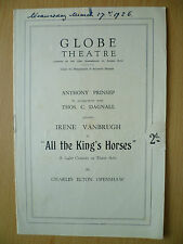 GLOBE THEATRE PROGRAMME 1926- ALL THE KING'S HORSES by Charles Elton Openshaw