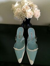 NEW W/O BOX MANOLO BLAHNIK TURQUOISE AND WHITE  PUMP~SIZE 39