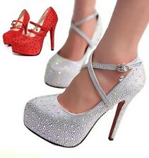 Women Strappy Shoes Glitter Shiny Rhinestone Pumps Platform Heels Buckle Sandals