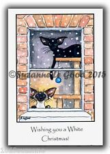 ORIGINAL SIAMESE ORIENTAL CAT PAINTING CHRISTMAS CARDS PACK OF 6 SUZANNE LE GOOD