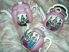 "Antique ""Welsh Women"" three-piece pink luster china, child size tea pots w/lids"