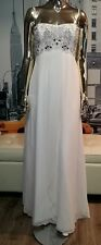 NWT $485 Aidan Mattox LONG STRAPLESS WHITE BEADED PARTY PROM WEDDING DRESS Sz 8
