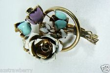Vintage Gold tone metal Enamel Flower pin brooch Austria