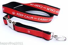KEEP CALM AND CARRY ON EXCLUSIVE Neck Strap Satin Lanyard Charm Chain Holder
