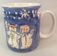 Snow Couple MUG  Tabletops Unlimited  Snowmen  Snowman  Hand Painted Blue