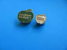 2, Beckers Bester Fruit Juice Pin Badges. Enamel & Metal.