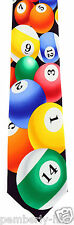 New Rack 'Em Mens Necktie Billiards Pool Balls Cue Ball Black Sports Neck Tie