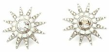 Zest Star Burst Earrings with Clear & Moonstone Swarovski Crystals -Pierced Ears