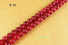 100Pcs 6mm Red Glass Round Spacer Loose Beads W65