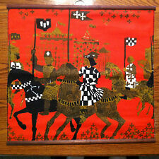 "Tibor Reich Textile Wall Hanging, Brown, Red and Black 24"" x 23"""