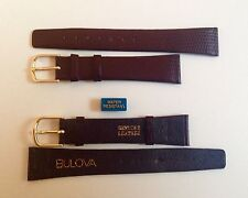 Bulova Cinturino Vintage Pelle 18 mm Marrone NOS Watch Band Water Resistant