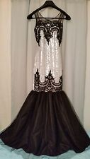 Sequins Prom Dress Ball Gown Black Silver Mermaid Long Formal Small Medium S M